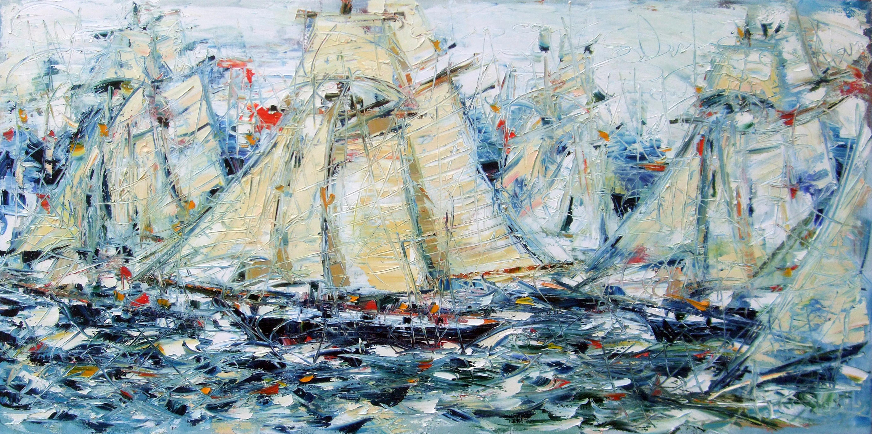 « Les voiliers » - huile sur toile – 195 x 97 cm